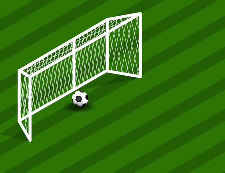 Soccerfootball Field With Goal and Ball with space for Text. Vector Illustration Illustration