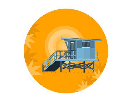Sea Side Summer Landscape With Lifeguard House on a Beach and Shiny sun  in Flat Design. Vector Illustration. 矢量图像