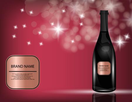 Red Wine Bottle on the Sparkling Background for Your Design. Vector Illustration Illustration