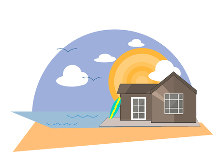 Sea Side Summer Landscape With House on a Beach and Shiny sun  in Flat Design. Vector Illustration. Illustration