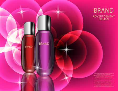 Glamorous Cosmetic  Bottles, Jars on the Sparkling Effects Background. Mock-up 3D Realistic Vector illustration for design, template