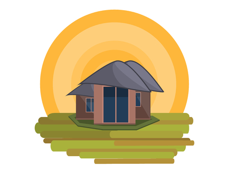 Mountain Side Summer Landscape With House and Shiny sun  in Flat Design. Vector Illustration. Illustration