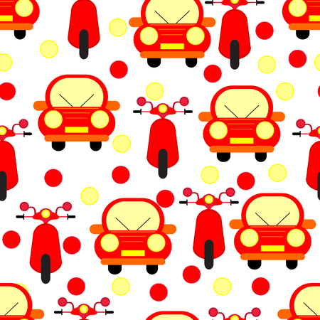 Funny Red Cars and Motobikes Seamless Patterns Isolated on White Bacground. Vector Illustration Illustration