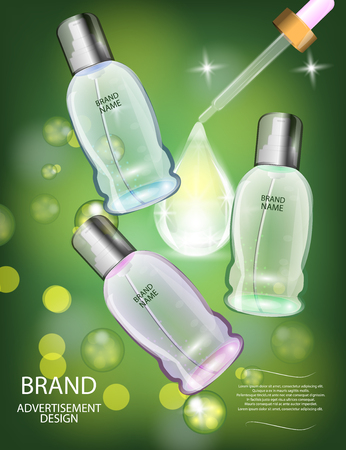 glamorous: Glamorous Cosmetic  Bottles, Jars on the Sparkling Effects Background. Mock-up 3D Realistic Vector illustration for design, template