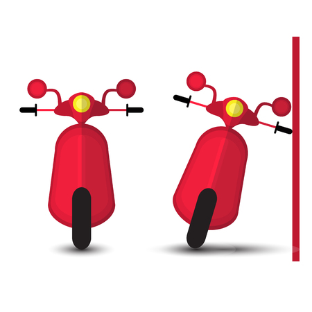 motobike: Funny Red Motobike Isolated on White Bacground. Vector Illustration Illustration