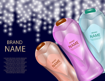 Glamorous Hair Care Products Packages on the  sparkling effects background. Mock-up 3D Realistic Vector illustration for design, template Illustration
