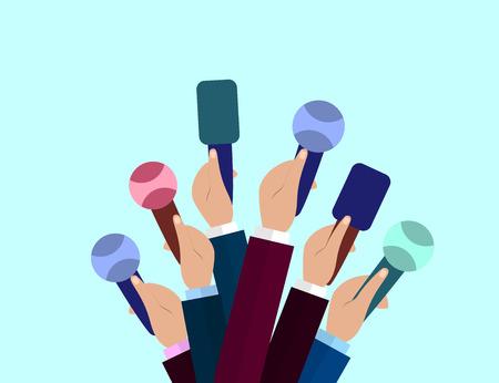 Set of Microphones. Journalism concept, Mass Media, TV, Interview, Breaking News, press conference concept. Microphones in reporter hands. Vector  Flat design.