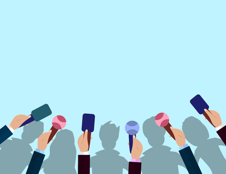 Set of Microphones and crowd silhouettes. Journalism concept, Mass Media, TV, Interview, Breaking News, press conference concept. Microphones in reporter hands. Vector  Flat design.