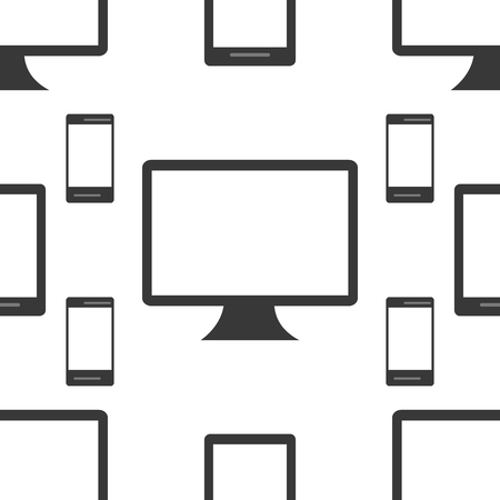 responsive: Seamless Pattern of  black and white Isoleted Devices. Flat Design. Vector Illustration. Illustration