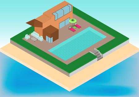 Isometrische cottage met zwembad, fauteuils, paraplu op het tropische strand in vector