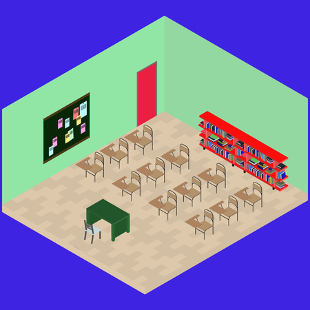 Isometric classroom with object: desk, book shelfs, table, chair, note board in vector Ilustracja