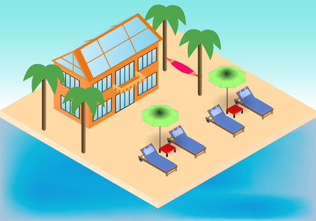 Isometric cottage, armchairs, hammock on the tropical beach with palms in vector Illustration