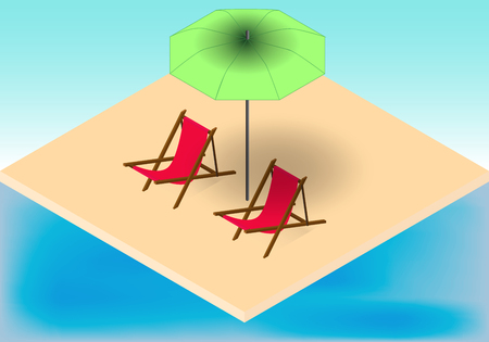 Isometric tropic beach, armchairs and umbrella near a sea in vector Illustration