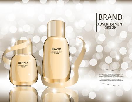 Glamorous botellas de vidrio de fundación aisladas sobre fondo blanco. Mock-up 3D realista ilustración vectorial de diseño, plantilla