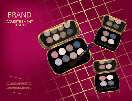 Glamorous colorful eyeshadow set on the sparkling effects background. Mock-up 3D Realistic Vector illustration for design, template