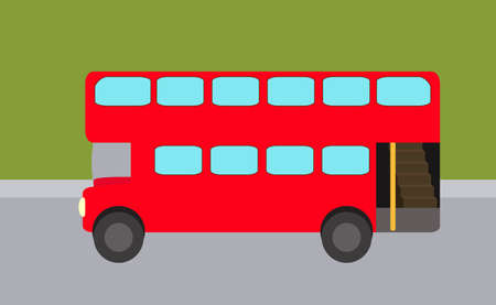 Double-decker flat, red bus  on the background of street in vector