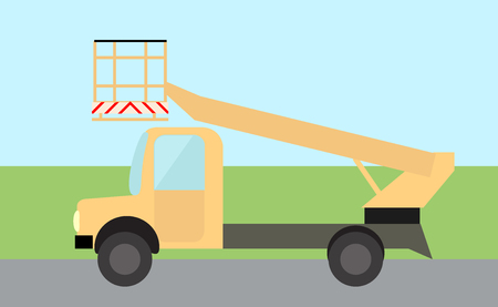 Bucket truck, truck for lifting people flat image in vector. Illustration