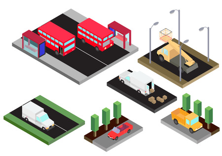 Isometric model of various isolated cars double-decker red bus, truck, bucket truck, cabriolet, van in vector Illustration