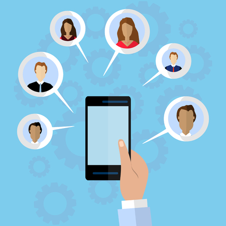Medios sociales y concepto de comunicación global. Ilustración vectorial plana