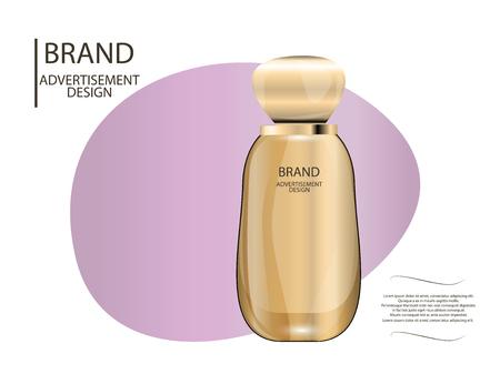 skin tones: Glamorous foundation glass bottle  Mock-up 3D Realistic Vector illustration for design, template