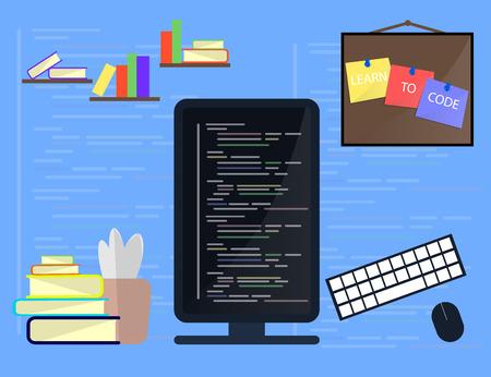 html: Learning Programming and coding concept, website development, Web Design. Flat Vector Illustration Illustration