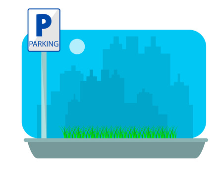 Parking concept in flat style over city silhouette. Flat Vector Illustration