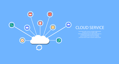 modern cloud services and Cloud Computing Elements Concept. Devices connected to the cloud with  Gears. Flat Vector Illustration. Illusztráció