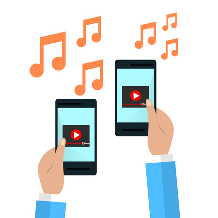 mobile device: Hands holding smartphone with video player on screen.