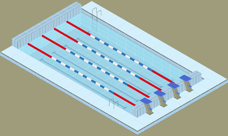 Isometric pool for swimming sports. Pool in the sports center. Image in vector