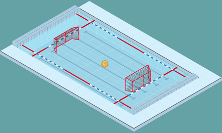 Isometric image of a pool for water polo with ball and nets. Image in vector Illustration