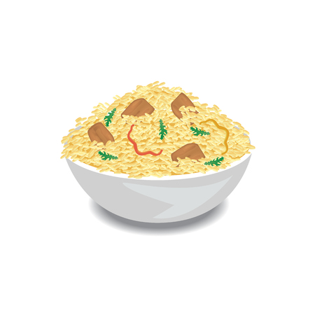 Illustration of hot pilaf with rice, meat and pepper in a bowl. Vector Illustrator