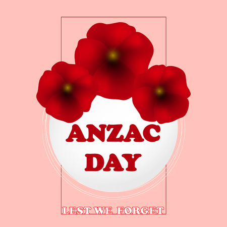 Remembrance Day, Anzac Day, Veterans Day Background with Poppies. Lest We Forget. Vector Illustration Illustration