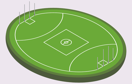 Isometric field for Australian football, isolated image in vector