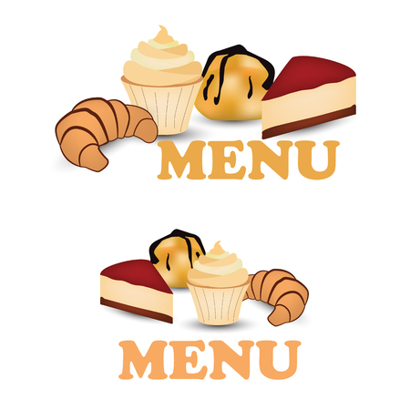 Muffin, Profiterole, croissant and cheesecake flat design isolated on white background. Vector illustration of bakery goods for poster label and menu bakery shop.