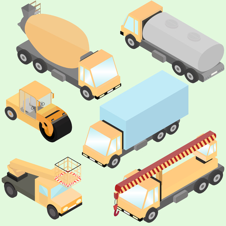 Set of isometric road construction machinery.