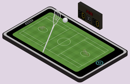 Infographic lacrosse playground, ball, lacrosse stick and tablet.