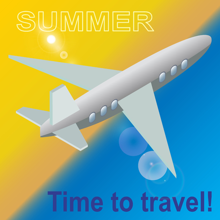 Summer, time to travel. An airplane above the beach. Bright background. in vector