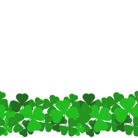 Saint Patrick's day seamless background with green shamrock leaves. Vector Illustration. Illustration