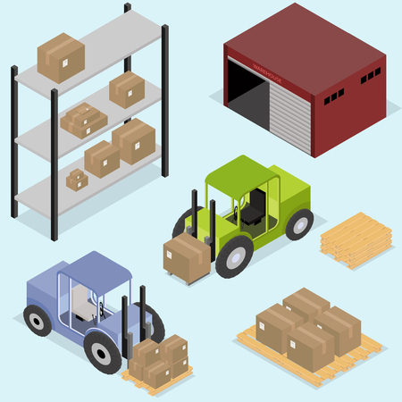 Isometric icons set of logistics and delivery Illustration