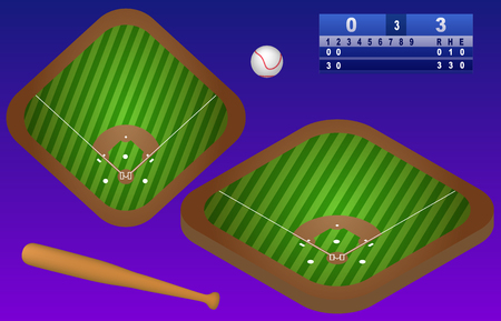 Isometric baseball playground, ball, baseball bat, and scoreboard. Baseball field top view. Isolated. In vector