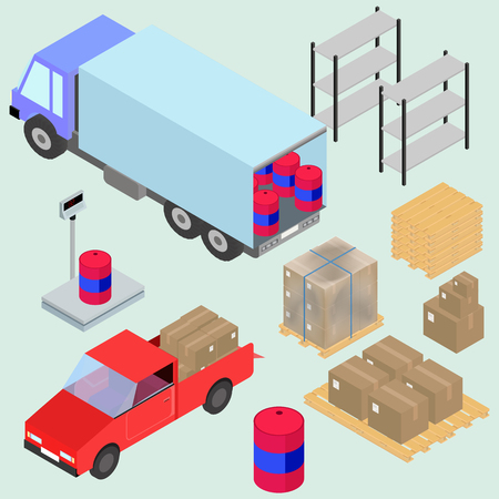 Isometric icons set of logistics and delivery, scales, boxes, forklifts, and cargo. In vector Illustration