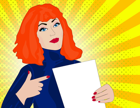 Pop art woman points to a blank template. retro vector illustration Vettoriali