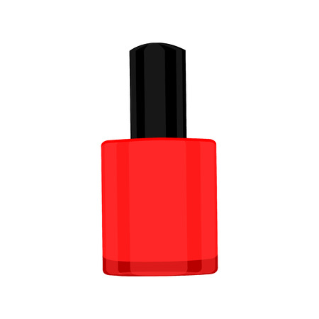 Red nail lacquer ison isolated on shite backdrouns. Flat vector illustration