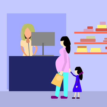 Pregnant woman with girl in cosmetic store. Flat vector illustration
