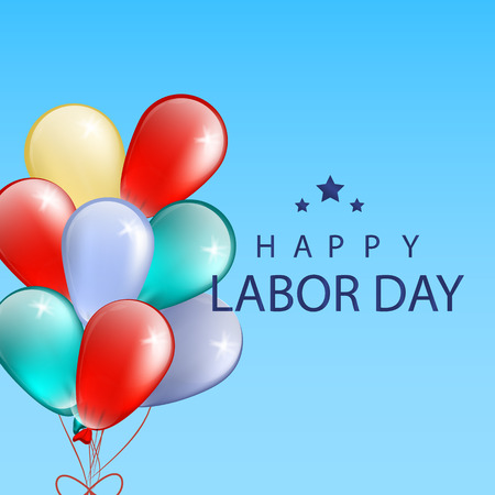 Happy Labor Day background with  colorful baloons. Vector Illustration Illustration