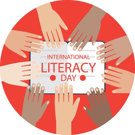 Affiche colorée pour la journée internationale de l'alphabétisation. Beaucoup de mains sur le fond. Illustration vectorielle de graisse.