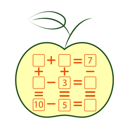 Counting Game for Preschool Children. Mathematics task. How many objects. Learning mathematics, numbers. Vector Illustration