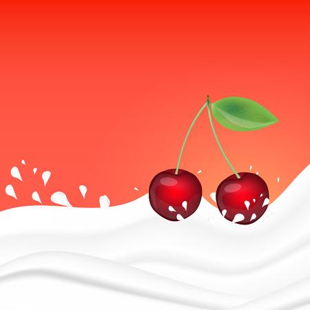 Cherry splashing in milk on a pink background. Fruit and yogurt. Realistic Vector illustration.