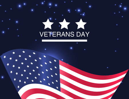 Veterans Day. Honoring all who served. USA  flag on  background. Vector Illustration Illustration