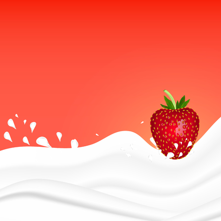 Strawberry splashing in milk on a pink background. Fruit and yogurt. Realistic Vector illustration.